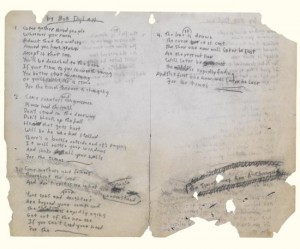 Bob Dylan's handwritten lyrics